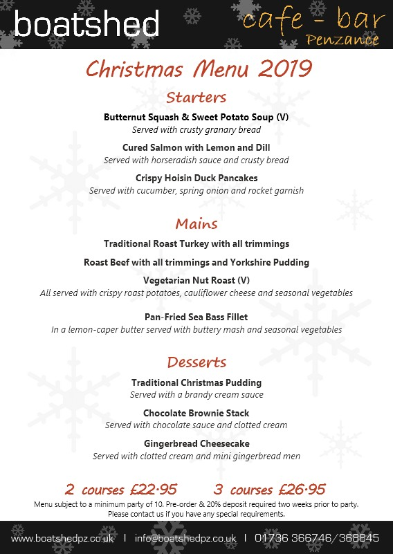 Boatshed Christmas Menu 2019